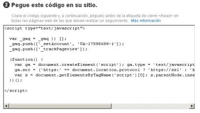 Imagen del código de Analytics