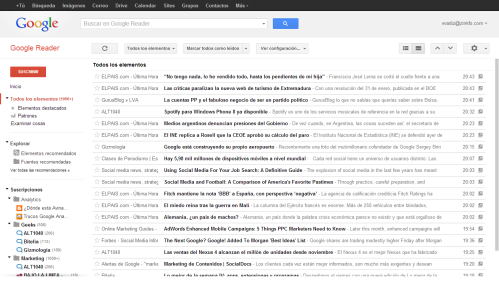 Vista titulares Google Reader